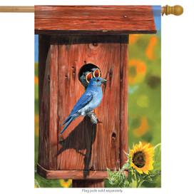 Bluebird & House Spring House Flag