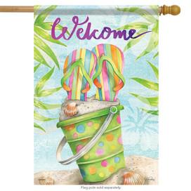 Beachy Days Welcome Flip Flops Summer House Flag