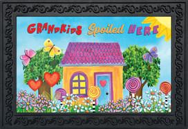 Grandkids Spoiled Here Floral Doormat