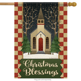 Christmas Blessings Primitive House Flag