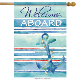 Welcome Aboard Summer Nautical House Flag