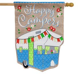 Spring Camper Burlap House Flag