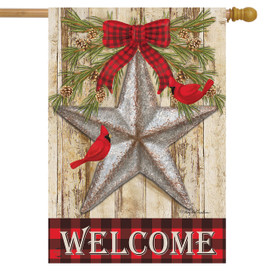 Festive Barnstar Winter House Flag