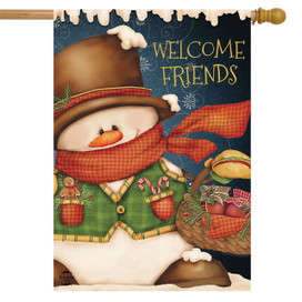 Welcome Friends Snowman Winter House Flag
