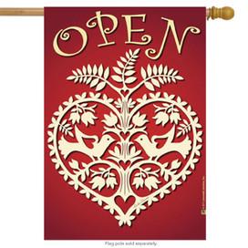 Open Heart  For Business House Flag