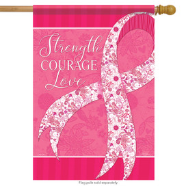 Positive Pink Ribbon Spring House Flag