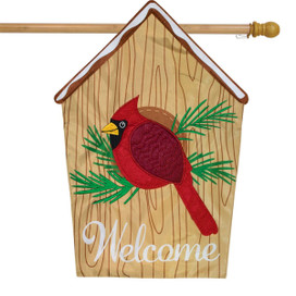 Cardinal Birdhouse Applique House Flag