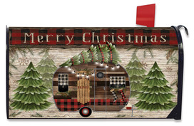 Merry Christmas Camper Primitive Mailbox Cover