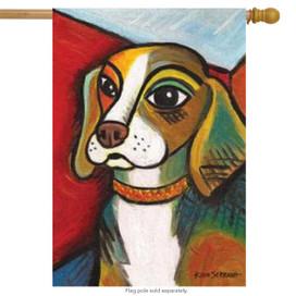 Pawcasso Beagle Dog House Flag