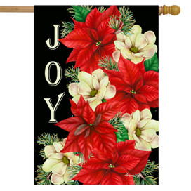 Joy Poinsettias Christmas House Flag