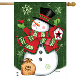 Snowman and Birdhouse Winter House Flag