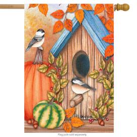 Autumn Home Chickadees House Flag