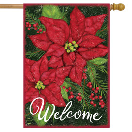Holiday Poinsettia Christmas House Flag