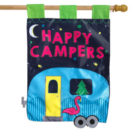 Happy Campers Applique Summer House Flag
