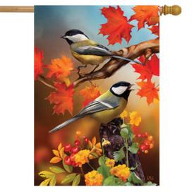 Autumn Chickadees House Flag