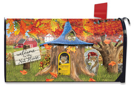 Fall Nut House Squirrels Mailbox Cover