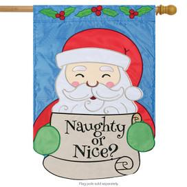 Naughty or Nice Christmas Applique House Flag