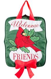 Holly Berry Cardinal Holiday Door Hanger