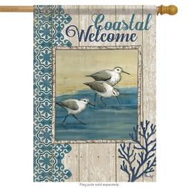 Coastal Welcome Birds Summer House Flag