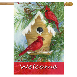 Snowy Cardinals Winter House Flag