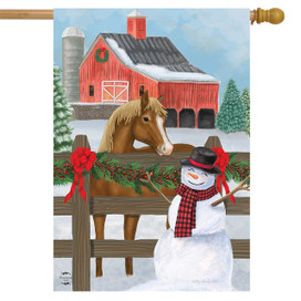Snowy Stable Winter House Flag
