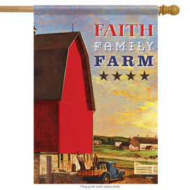 Faith Family Farm Primitive House Flag
