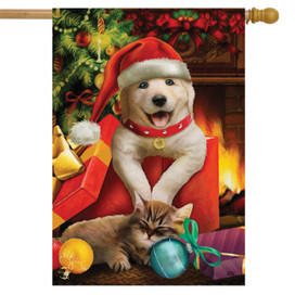 Merry Christmas Puppy House Flag