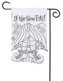 "If the Shoe Fits ""Color Me"" Applique Garden Flag"
