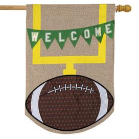 Football Fall Burlap House Flag
