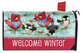 Winter Songbirds Primitive Large / Oversized Mailbox Cover
