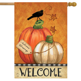 Rustic Pumpkins Fall House Flag