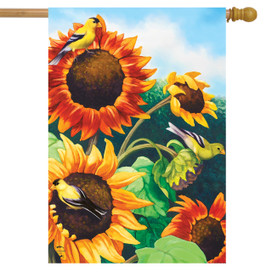 Sunflower Field Autumn House Flag