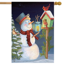 Lantern Snowman Winter House Flag