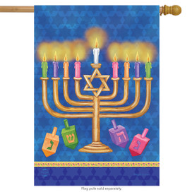Happy Hanukkah House Flag