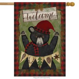 Welcome Winter Bear House Flag
