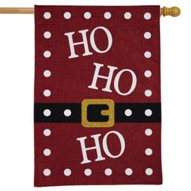 Ho Ho Ho Christmas Burlap House Flag
