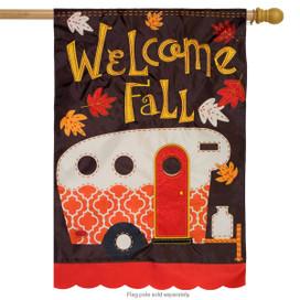 Fall Camper Applique House Flag