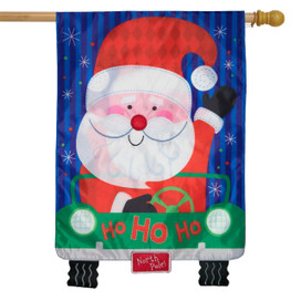 Santa's Delivery Christmas Applique House Flag
