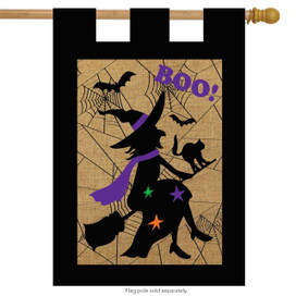Halloween Witch Burlap House Flag