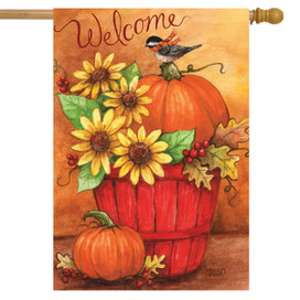 Autumn Bushel Welcome House Flag