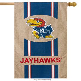 Kansas Jayhawks Burlap Licensed NCAA House Flag