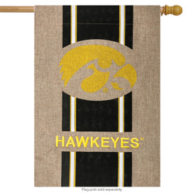 University of Iowa Hawkeyes Burlap House Flag