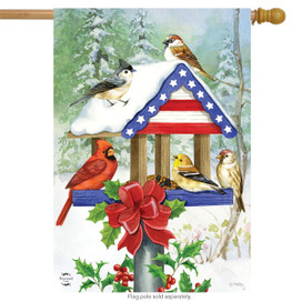 Patriotic Christmas Birdfeeder House Flag