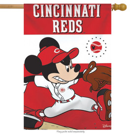 Cincinnati Reds MLB Mickey Mouse Baseball House Flag