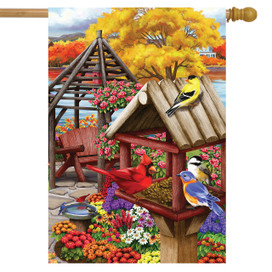 Autumn Garden Birds House Flag