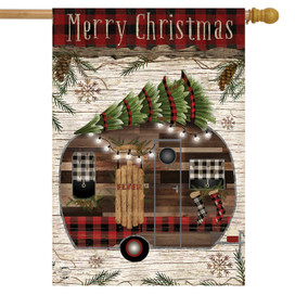 Merry Christmas Camper Primitive House Flag