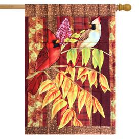 Plaid Cardinals Fall House Flag