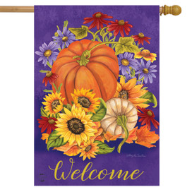 Gifts of Fall Welcome House Flag