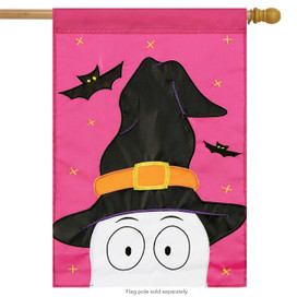 Peeking Ghost Halloween Applique House Flag