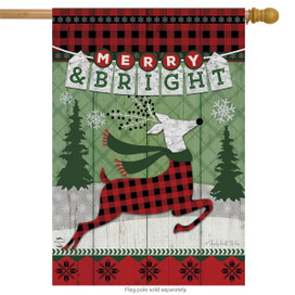 Merry & Bright Reindeer Christmas House Flag